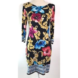 Cachet Long Sleeve Floral Sheath Dress
